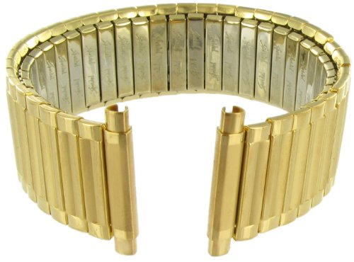 18-22mm Twist-o-flex Gold Stainless Steel Watch Band Extra Long Measures 7 In