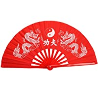 Chinese Kung Fu Tai Chi Eight Trigrams Double Dragon Bamboo Rib Frame Fan Red