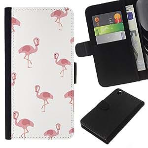 KLONGSHOP // Tirón de la caja Cartera de cuero con ranuras para tarjetas - Pelican Rosa Blanco Minimalista Pájaro Patrón - HTC DESIRE 816 //
