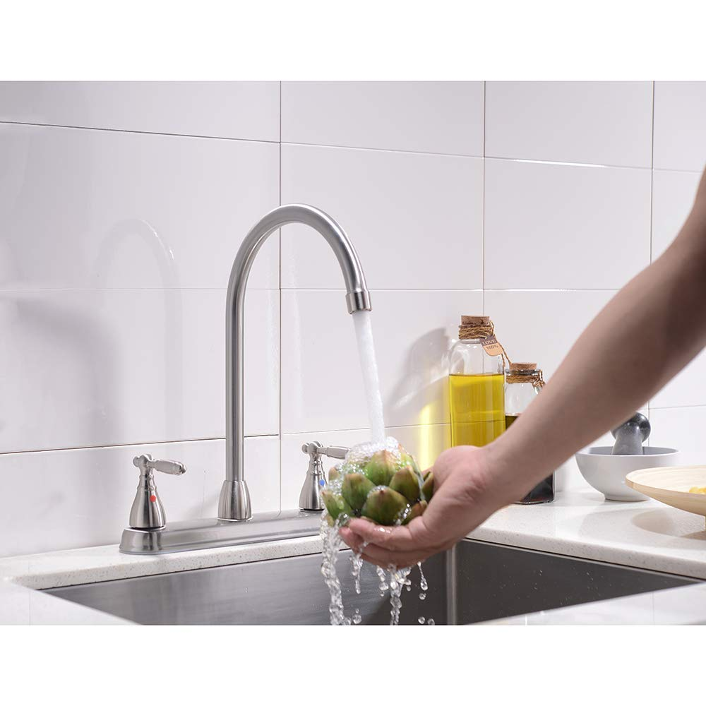 VCCUCINE Well Recommended High Arc Goose neck Two Lever Brushed Nickel Finished Kitchen Faucet, Stainless Steel Swivel Spout Kitchen Sink Faucets by VCCUCINE (Image #4)