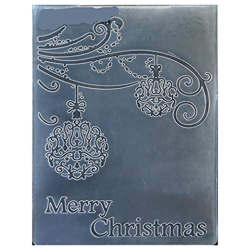 Kwan Crafts Merry Christmas Ball Light Plastic Embossing Folders for Card Making Scrapbooking and Other Paper Crafts, 12.5x17.7cm