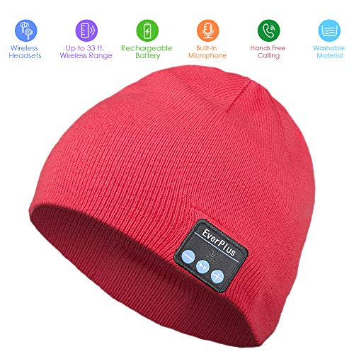 Bluetooth Beanie, Wireless Bluetooth Hat Control Panel, Removable Headphones, Charges via USB, Fits Outdoor Sports, Skiing,Running, Skating, Walking, (Red)