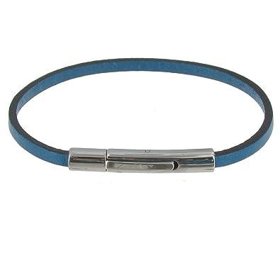 ac7119ecb9e Les Poulettes Bijoux - Bracelet Femme Cuir Simple Fermoir Acier Inoxydable  - Classics - Turquoise