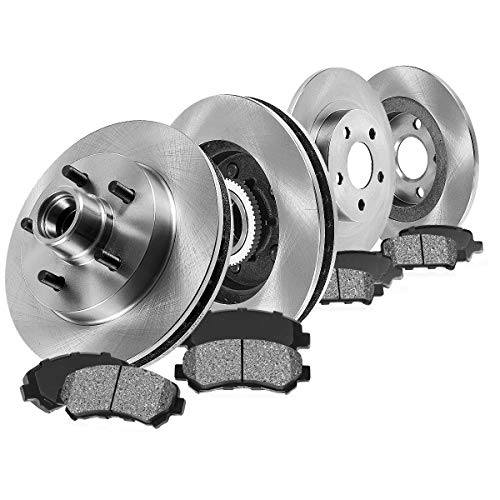 FRONT 308 mm + REAR 334.01 mm Premium OE 5 Lug [4] Rotors + [8] Metallic Brake Pads - Pickup 2wd Crew Cab