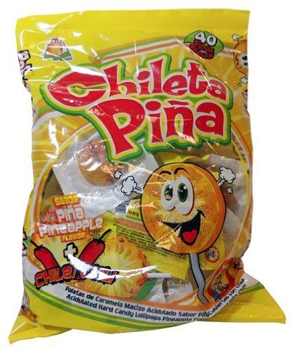 El Azteca Chileta Pina, Chile Pineapple Lollipops, Bag of 40 by El Azteca