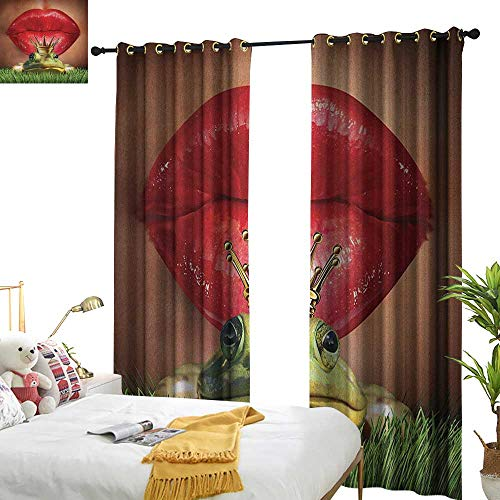 WinfreyDecor Light Luxury high-end Curtains Animal Lady Finds Her Frog Prince Soul Mate in Love Valentines Romance Fairy Tale Art for Living, Dining, Bedroom (Pair) W84 x L108 Green Red Yellow