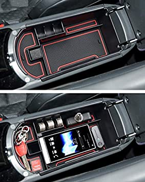 MyGone Center Console Armrest Box Insert Organizer Tray for Toyota RAV4 2014-2017 ABS Plastic Secondary Storage with Rubber Liners