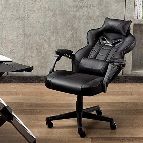 Bonzy Home Gaming Chair Office Chair High Back Computer Chair PU Leather Desk Chair PC Racing Executive Ergonomic Adjustable Swivel Task Chair with Headrest and Lumbar Support (Black) 51Fvl17NgPL