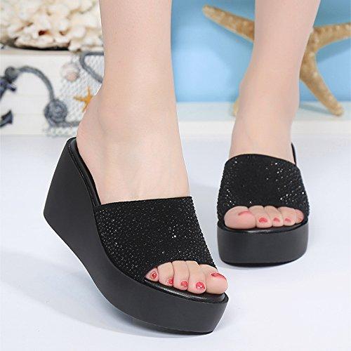 Sandals ZHIRONG Women's Summer Fashion Waterproof Platform Open Toe Rhinestone Thick Bottom slippers Roman Shoes Wedges Beach Shoes High Heels 7.5CM (Color : White, Size : EU36/UK4/CN36) White