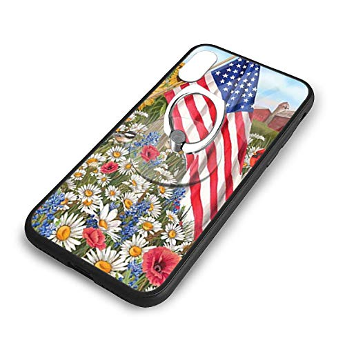 iPhone X Plus Cover American Flag and Flowers Case with Finger Ring Stand XS Phone Kickstand Holder Shock Protective Basic Protector]()