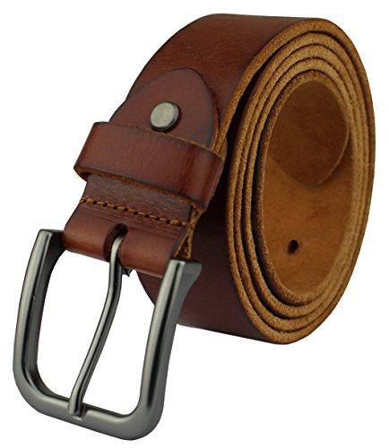 Soft Leather Buckle Belt (Heepliday Men's Soft Leather HJHX-021 Belt Small 30-32 Black Buckle Red-Brown)