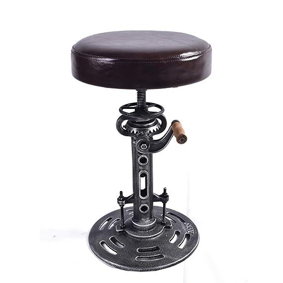 Vintage Bar Stools Industrial Crank Cast Iron Three-Legged Chairs PU Seat Stools