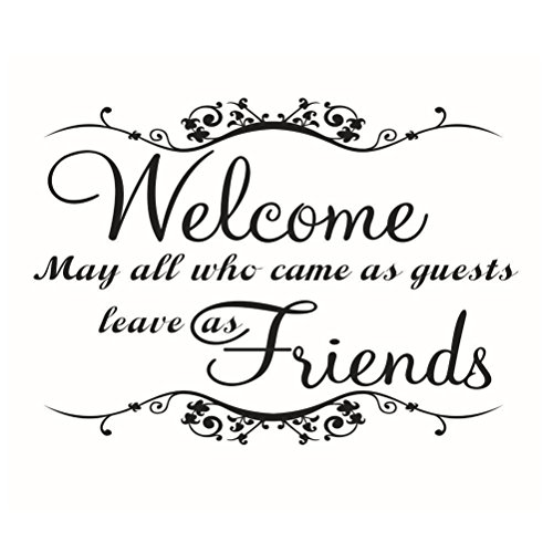 WINOMO Welcome Friends Quotes Wall Decals Removable PVC Vinyl Stickers for Living Room