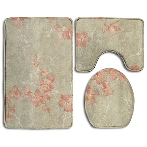 3 Pcs/set Bathroom Non-Slip Peach Blossom Style Pedestal Rug + Lid Toilet Cover + Bath ()