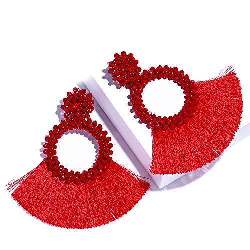 SHIWE Bohemia Beaded Tassel Earrings for Women Long Thread Fringe Fan Drop Dangle Seed Beads Earrings White Black Red Blue Best Handmade