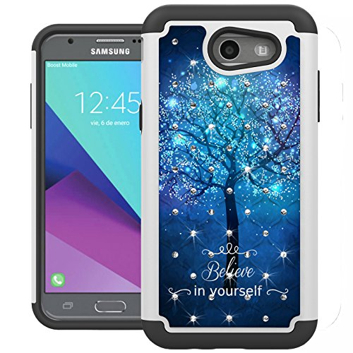 For Samsung Galaxy J3 Emerge Case, J3 2017 Case, J3 Prime Case, Amp Prime 2 Case, Express Prime 2 Case, UrSpeedtekLive [Shock Absorption] Studded Rhinestone Bling Protective Case Cover (Galaxy Tree)