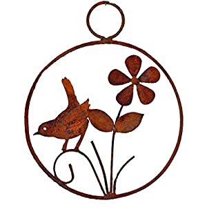 Elegant Garden Design Bird and Flower Wreath, Rusty Patina 29