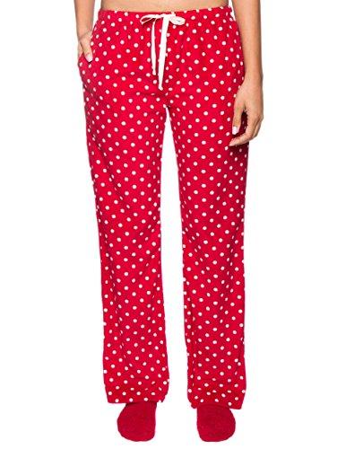 Noble Mount Pantalon Pijama de Micro Polar para Mujer Lunares Diva Rojo/Blanco