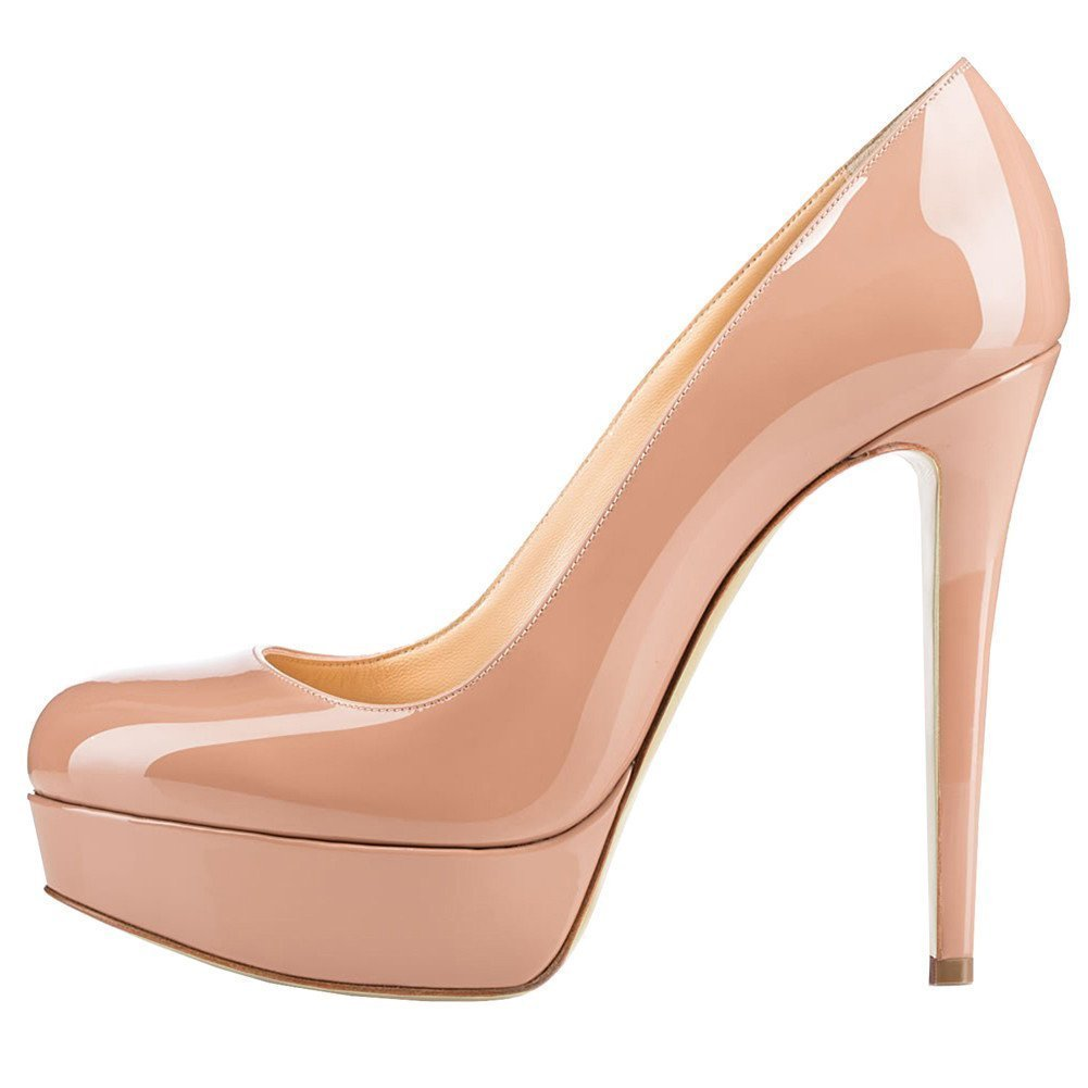 Nude UMEXI Round Toe Platform Pumps Stiletto High Heel Slip On Party Wedding Dress shoes for Women