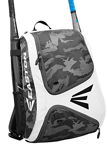 EASTON E110BP Bat & Equipment Backpack Bag | Baseball Softball | 2019 | White | 2 Bat Sleeves | Smart Gear Storage | Vented Shoe Pocket | Rubberized Zipper Pulls | Fence Hook
