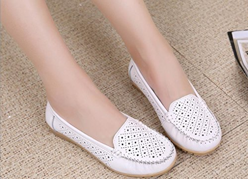 Womens Loafers Flats Ballet Hollow Maybest Boat Slip Shoes Comfort On White dpW0OWFwq