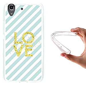 WoowCase - Funda Gel Flexible { Huawei Y6 - Honor 4A } Chic Style Rayas Azules Puntos Dorados Carcasa Case Silicona TPU Suave