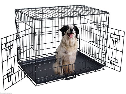48'' 2 Doors Wire Folding Pet Crate Dog Cat Cage Suitcase Kennel Playpen w/ Tray, Constructed Of Heavy Duty Steel Wires, Very Durable by Golden Banana (48' Dog Cage)