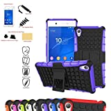 Sony Xperia Z3+ Case,Mama Mouth Shockproof Heavy Duty Combo Hybrid Rugged Dual Layer Grip Cover with Kickstand For Sony Xperia Z3+ (With 4 in 1 Free Gift Packaged:Black Stylus Touch Pen,Black Silicone Fish Headset Wrap,Black Micro USB Port Anti Dust Plugs,Black 3.5mm Headphone Jack Anti Dust Plugs), Purple