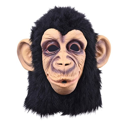 Monkey Head Latex Mask Full Face Head Party Mask (Dead Zebra Halloween Costume)