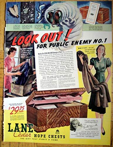 1939 Lane Cedar Hope Chest-Moths Public Enemy 1-Original 13.5 * 10.5 Magazine Ad