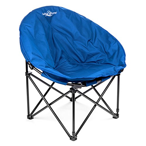 Lucky Bums Moon Camp Indoor Outdoor Comfort Lightweight Durable Chair with Carrying Case Blue, Medium