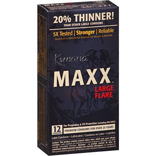 Kimono MAXX Large Flare Latex Condoms, 12 condoms (Kimono 12pk Condoms)