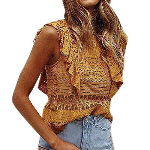 Cami Ruffle Trim (Mr.Macy Women Summer Boho Solid Ruffle Trim Lace Cami Top VES Casual Blouse (XL, Yellow))