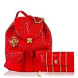 Valentino Orlandi Designer Scarlet Red Quilted Leather Backpack & Wallet Set