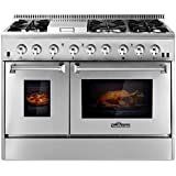 THOR KITCHEN 48inch Stainless Steel Dual Fuel Range 6 Burner Gas Range & Double Electric Oven
