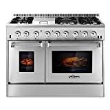 Appliances : THOR KITCHEN 48inch Stainless Steel Dual Fuel Range 6 Burner Gas Range & Double Electric Oven