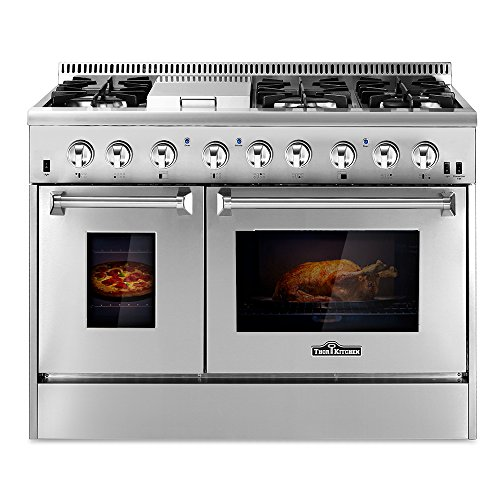 THOR KITCHEN 48inch Stainless Steel Dual Fuel Range 6 Burner Gas Range & Double Electric (48in Dual Fuel Range)