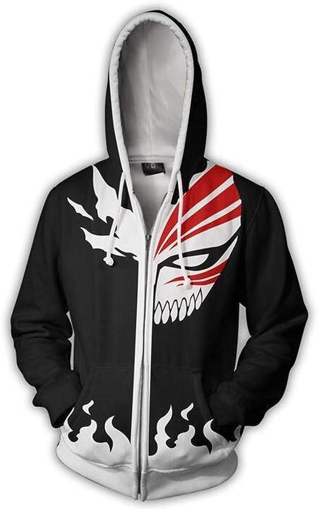 Unisex Anime Bleach Casual Long Sleeve Hoodie Kurosaki Ichigo Zipper Sweatshirts