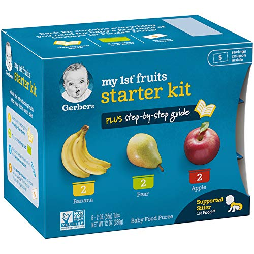 51FvoW64w%2BL - Gerber Purees My 1st Fruits Starter Kit, 2 Ounce Tubs, Box Of 6 (Pack Of 2)