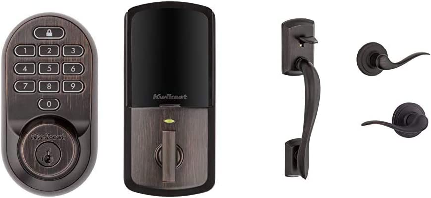 Kwikset 99380-002 Halo Wi-Fi Smart Lock Keyless Entry Electronic Keypad Deadbolt & 98150-001 Avalon Exterior Handle Only with Tustin Right Left-Handed Levers in, Venetian Bronze