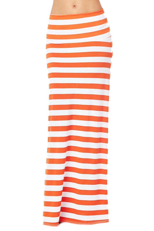 82 Days Women'S Poly Span Stripe Prints Maxi Skirt - Stripe