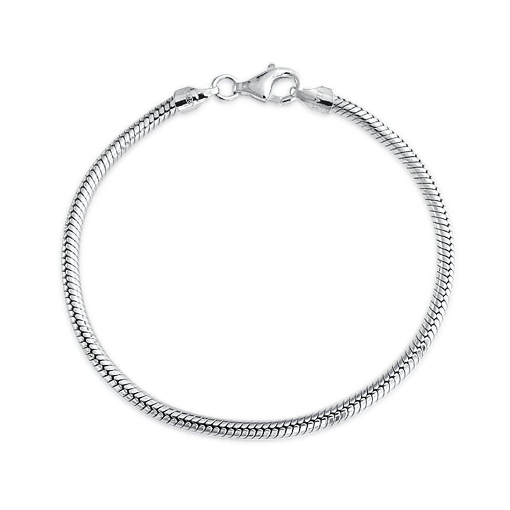 Bling Jewelry Sterling Silver Snake Chain Bracelet 3mm for European Charms Bead PBX-DK-SN240R-7-BJ