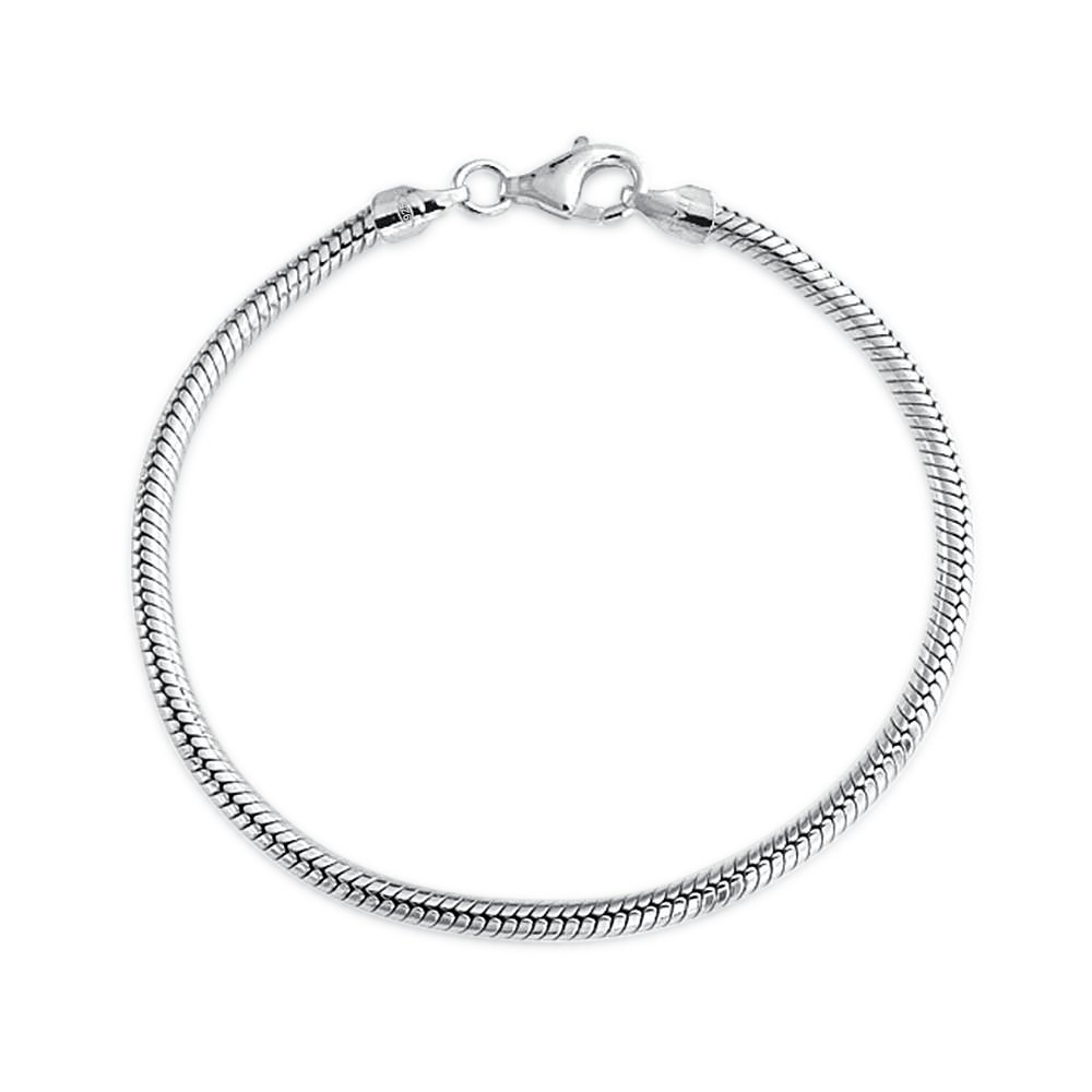 Sterling Silver Snake Chain Bracelet 3mm for European Charms Bead
