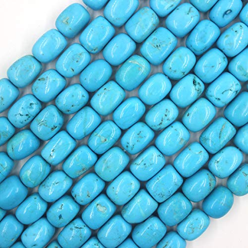 11x15mm Cubic Blue Turquoise Howlite Beads Semi Precious Gemstone Loose Stone Beads for Jewelry Making Strand 15 Inch (22-26pcs)