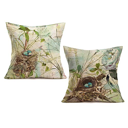 Royalours Pillow Covers Vintage Bird Nest Decorative Throw Pillow Case Cotton Linen Cushion Cover for Bed Office Living Room Sofa 18 x 18 Inch Set of 2 (Bird Nest)