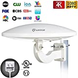 ANTOP 65 Miles Outdoor TV Antenna, UFO Long Range Amplified HDTV Antenna for Rooftop/Attic/ RV/Balcony Used, Omni Directional Reception, 33ft Coaxial Cable, White Color, 1-Pack (Newest Version)