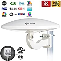 ANTOP 65 Miles Outdoor TV Antenna, UFO Long Range Amplified HDTV Antenna Rooftop/Attic/ RV/Balcony Used, Omni Directional Reception, 33ft Coaxial Cable, White Color, 1-Pack (Newest Version)