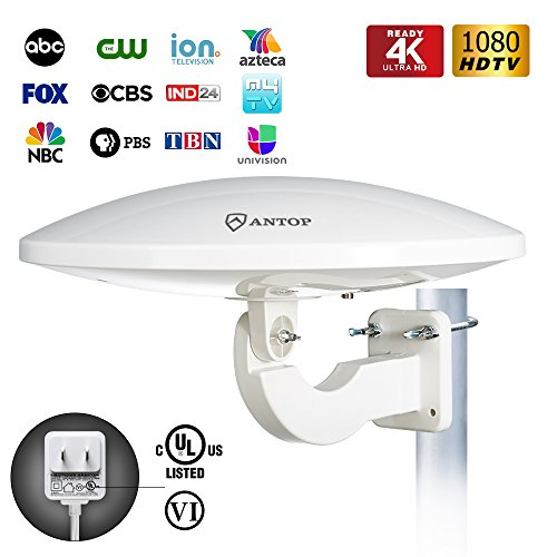 Omni Directional Switch (ANTOP UFO Outdoor TV Antenna, 360°Omni Directional Reception with High Gain TV Antenna for Indoor/Outdoor/RV TV, 65 Miles Long Range Antenna Built-in 4G LTE Filter, Weather Resistant)