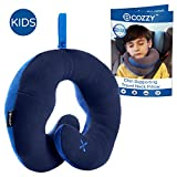 BCOZZY Kids Chin Supporting Travel Pillow- Keeps The Child's Head from Bobbing up and Down in Car Rides- Comfortably Supports The Head, Neck and Chin. A Patented Product. Child Size, Navy