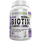 Biotin 10000mcg - 120 Count - Hair Skin and Nails Formula Maximum Strength Liquid Capsules Nature's Best Hair Growth Supplement - Longer, Healthier and Stronger Hair and Nails Veggie Capsules